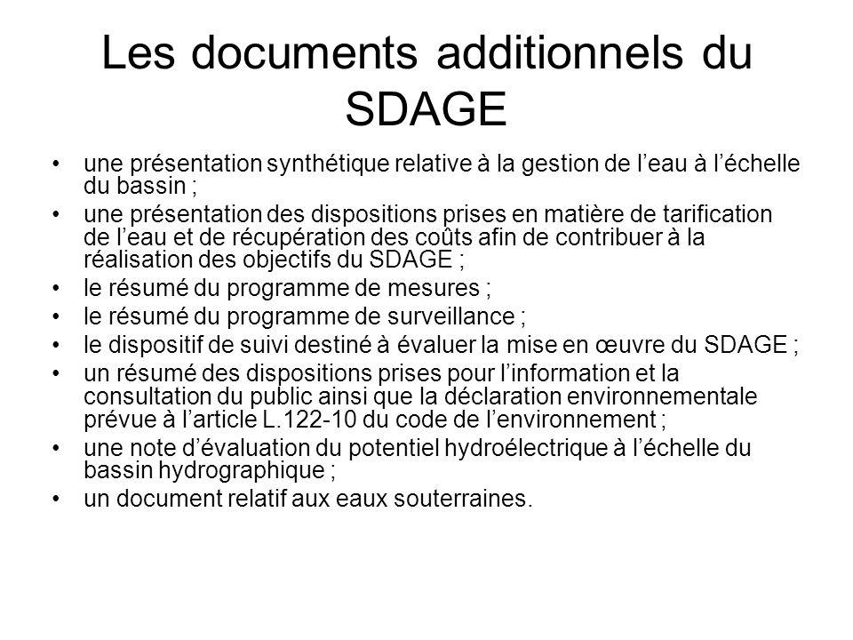 Les documents additionnels du SDAGE •une présentation synthétique relative à la gestion de l'eau à l'échelle du bassin ; •une présentation des disposi