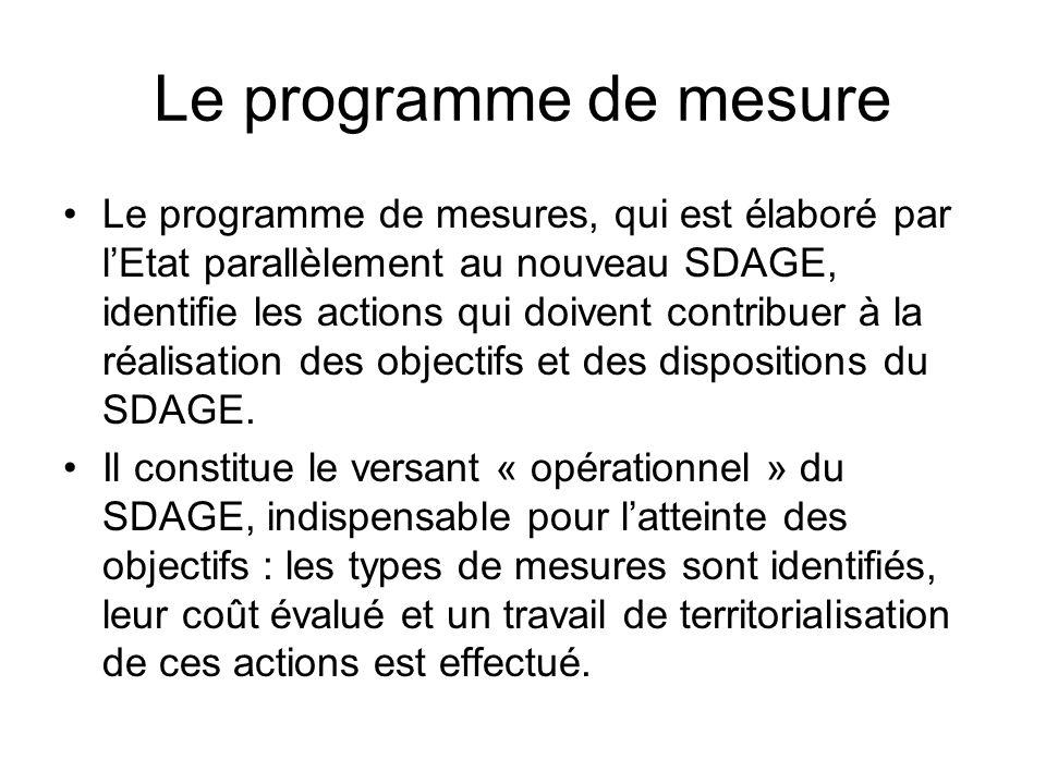 Le programme de mesure •Le programme de mesures, qui est élaboré par l'Etat parallèlement au nouveau SDAGE, identifie les actions qui doivent contribu