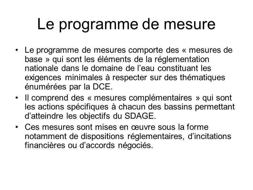 Le programme de mesure •Le programme de mesures comporte des « mesures de base » qui sont les éléments de la réglementation nationale dans le domaine