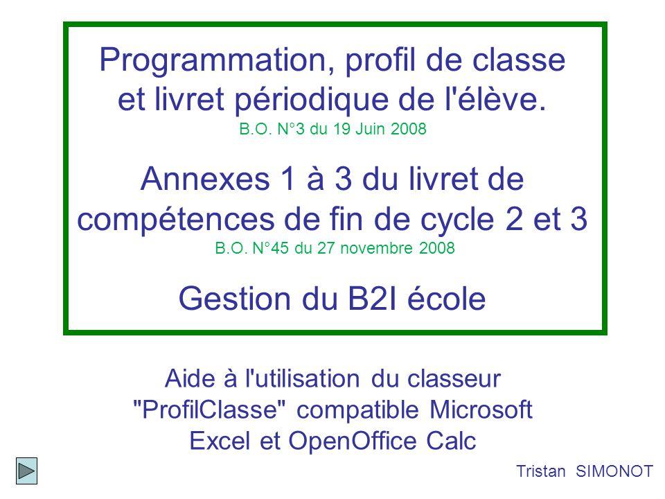 Programmation, profil de classe et livret périodique de l'élève. B.O. N°3 du 19 Juin 2008 Annexes 1 à 3 du livret de compétences de fin de cycle 2 et