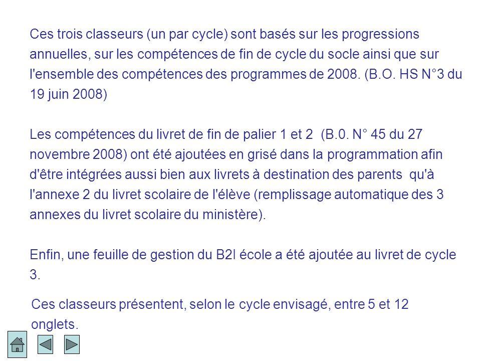 Ces trois classeurs (un par cycle) sont basés sur les progressions annuelles, sur les compétences de fin de cycle du socle ainsi que sur l'ensemble de