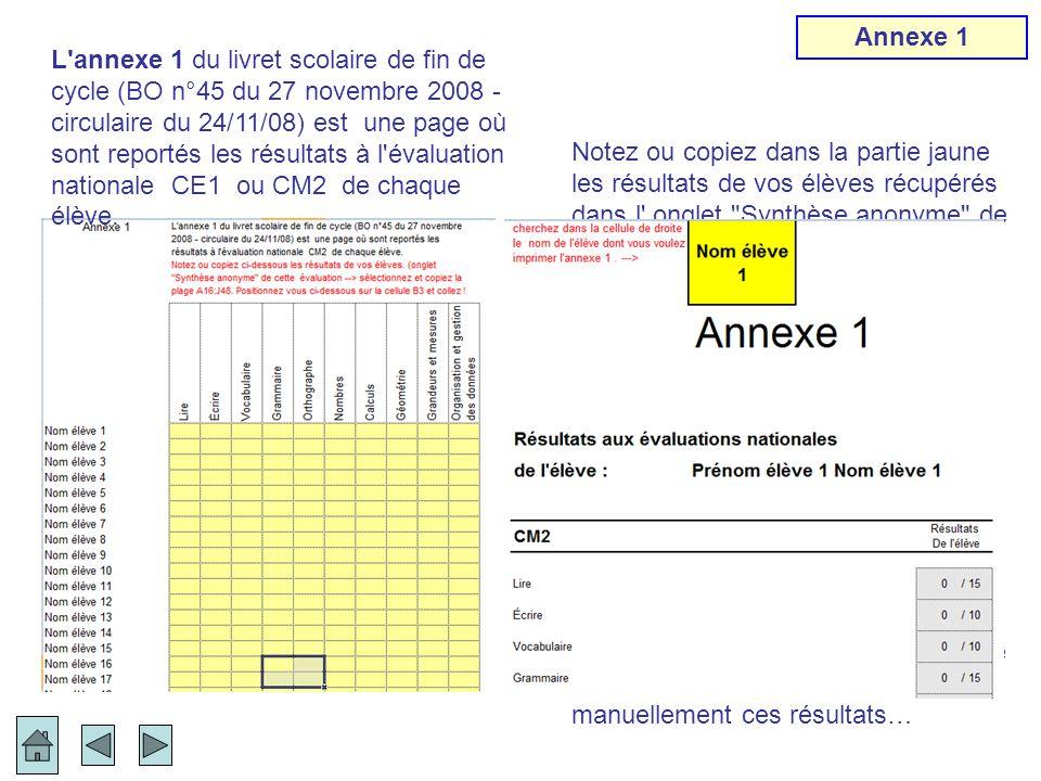 Notez ou copiez dans la partie jaune les résultats de vos élèves récupérés dans l' onglet