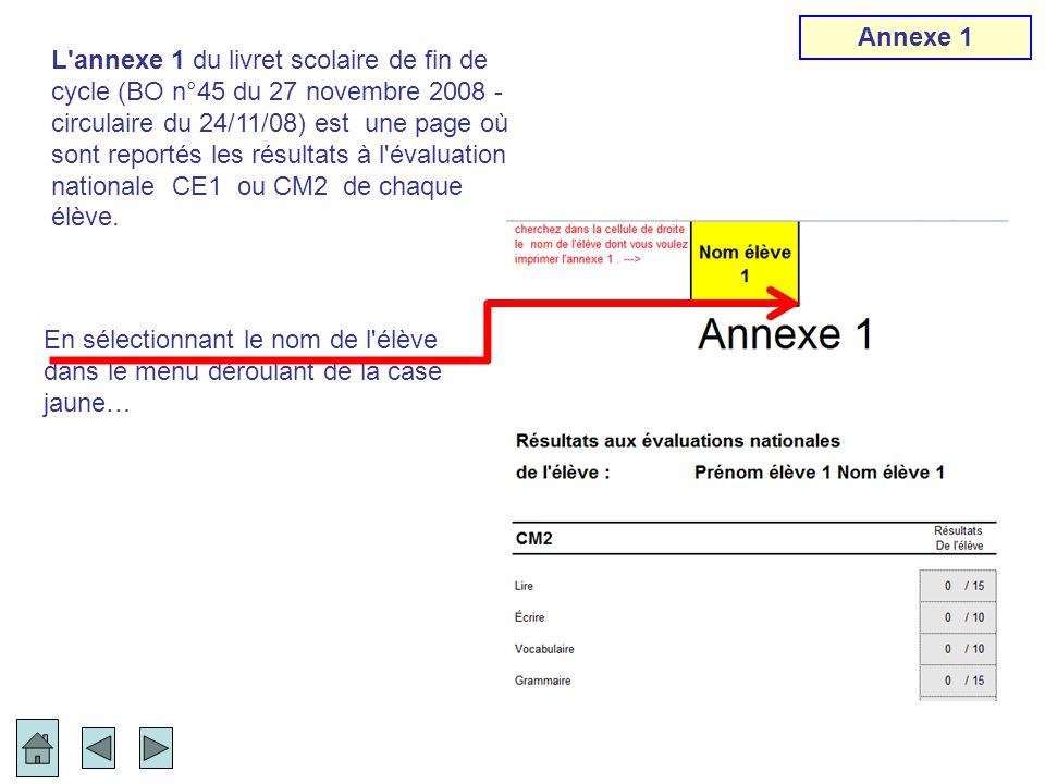 En sélectionnant le nom de l'élève dans le menu déroulant de la case jaune… L'annexe 1 du livret scolaire de fin de cycle (BO n°45 du 27 novembre 2008