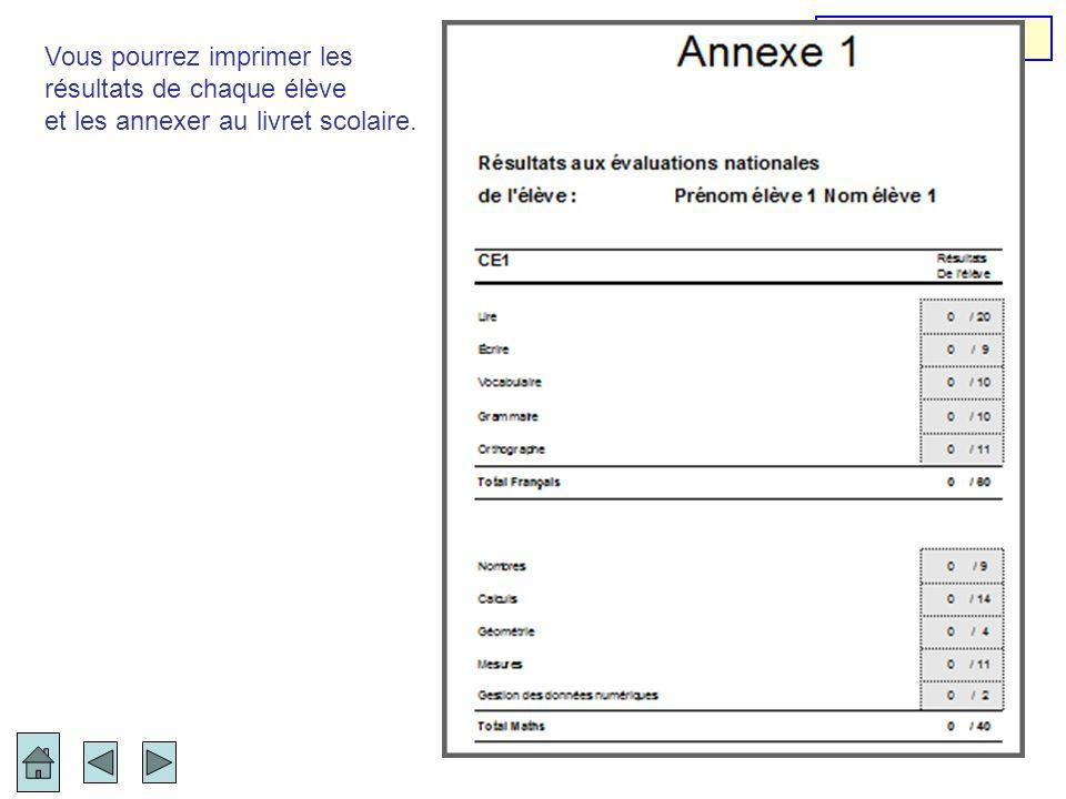 Vous pourrez imprimer les résultats de chaque élève et les annexer au livret scolaire. Annexe 1
