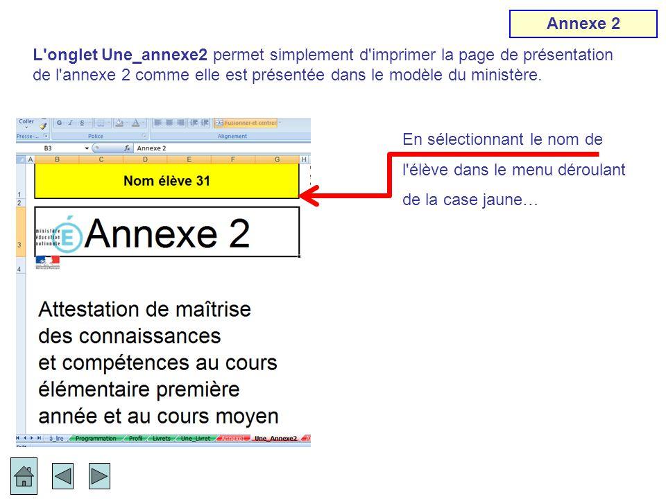 En sélectionnant le nom de l'élève dans le menu déroulant de la case jaune… L'onglet Une_annexe2 permet simplement d'imprimer la page de présentation