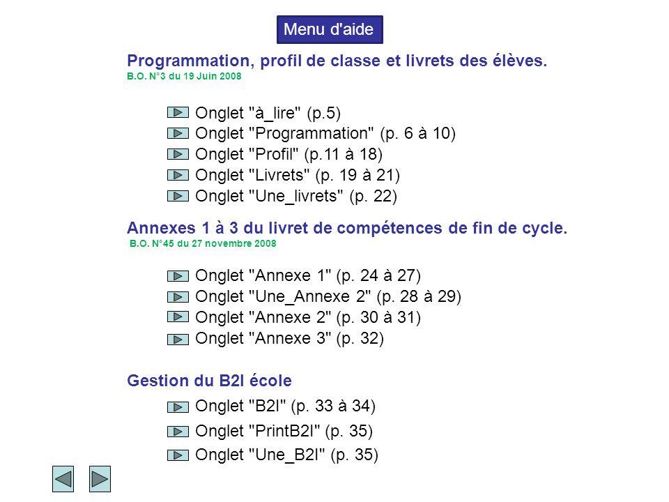 Programmation, profil de classe et livrets des élèves. B.O. N°3 du 19 Juin 2008 Annexes 1 à 3 du livret de compétences de fin de cycle. B.O. N°45 du 2
