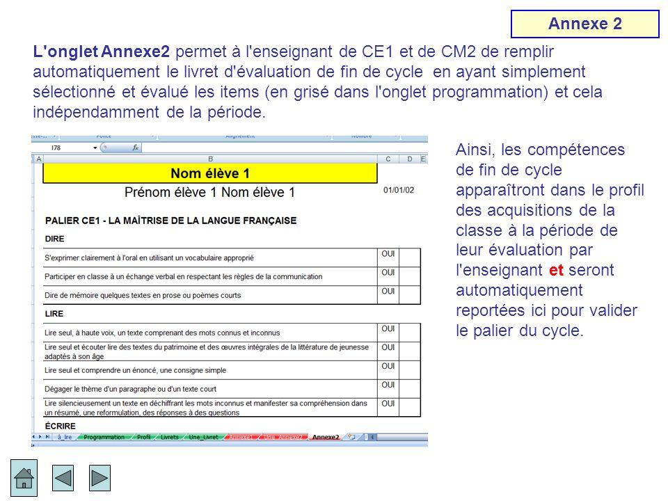 L'onglet Annexe2 permet à l'enseignant de CE1 et de CM2 de remplir automatiquement le livret d'évaluation de fin de cycle en ayant simplement sélectio