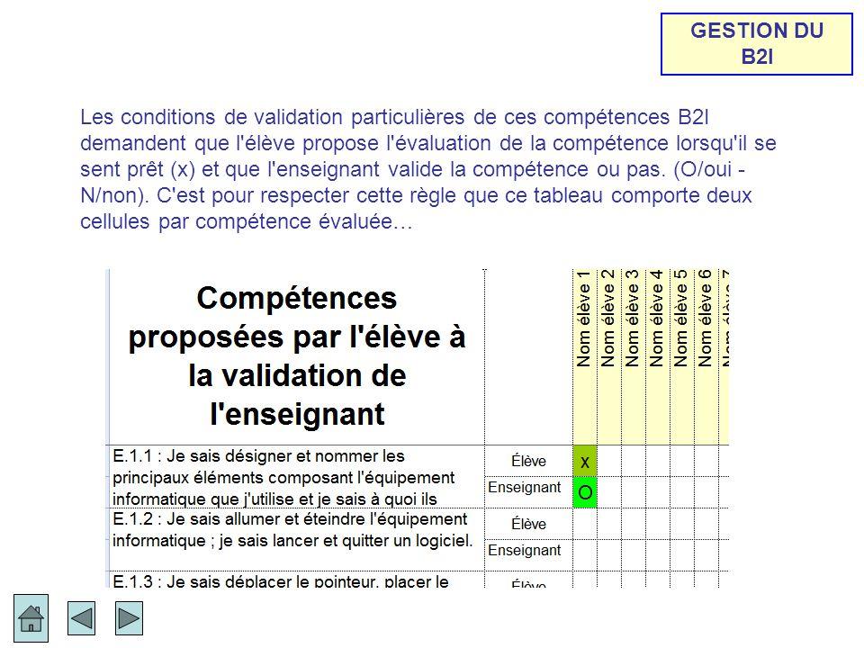 Les conditions de validation particulières de ces compétences B2I demandent que l'élève propose l'évaluation de la compétence lorsqu'il se sent prêt (