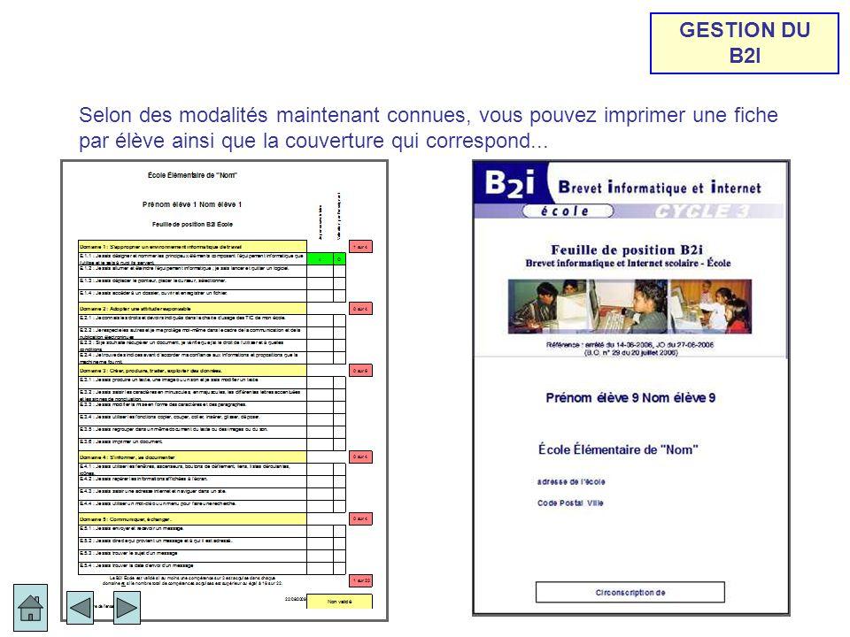 Selon des modalités maintenant connues, vous pouvez imprimer une fiche par élève ainsi que la couverture qui correspond...