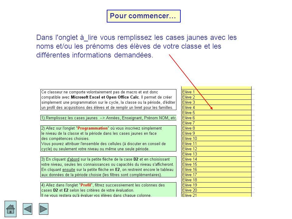 En sélectionnant le nom de l élève dans le menu déroulant de la case jaune… L annexe 1 du livret scolaire de fin de cycle (BO n°45 du 27 novembre 2008 - circulaire du 24/11/08) est une page où sont reportés les résultats à l évaluation nationale CE1 ou CM2 de chaque élève.