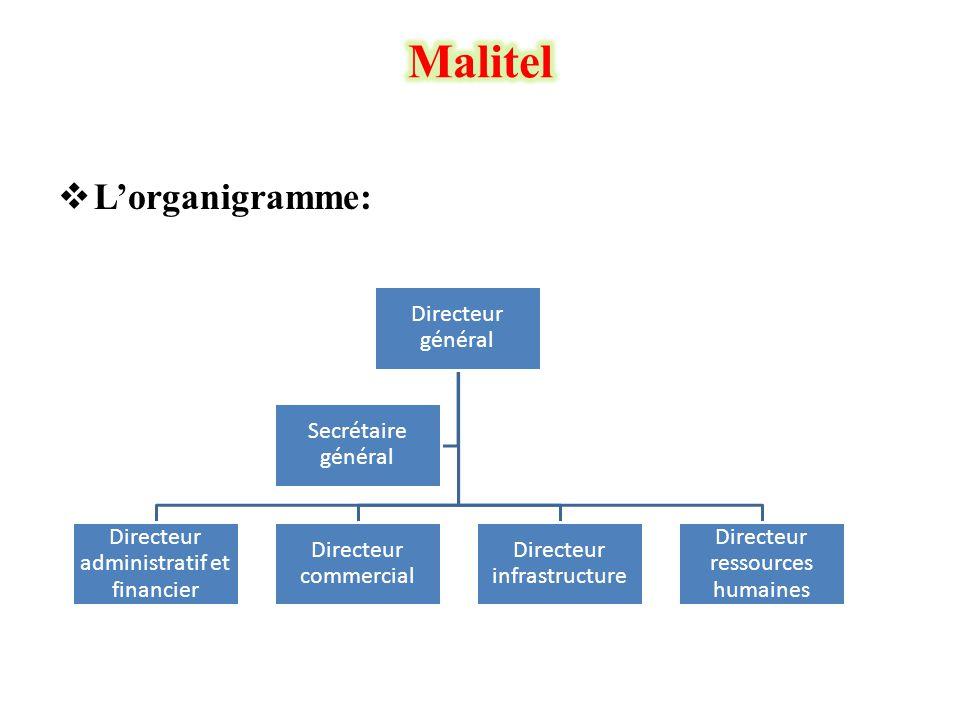  L'organigramme: Directeur général Directeur administratif et financier Directeur commercial Directeur infrastructure Directeur ressources humaines S