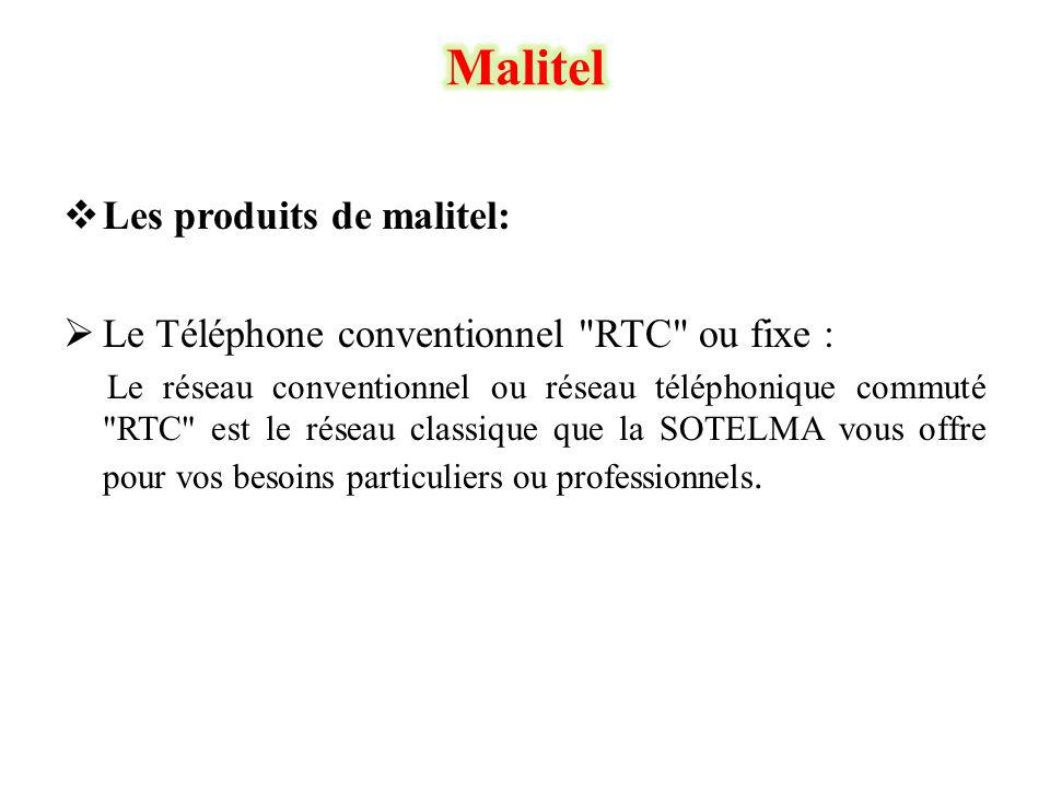  Les produits de malitel:  Le Téléphone conventionnel