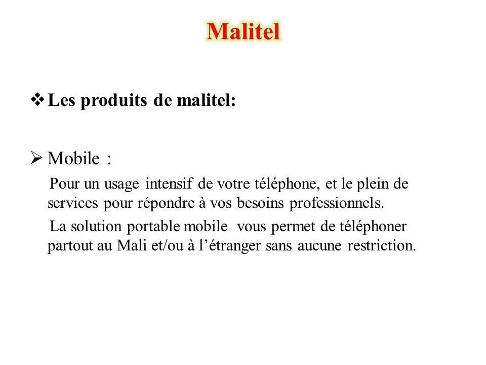  Les produits de malitel:  Mobile : Pour un usage intensif de votre téléphone, et le plein de services pour répondre à vos besoins professionnels. L