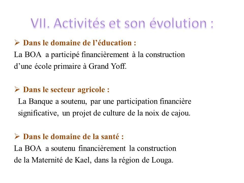  Dans le domaine de l'éducation : La BOA a participé financièrement à la construction d'une école primaire à Grand Yoff.  Dans le secteur agricole :