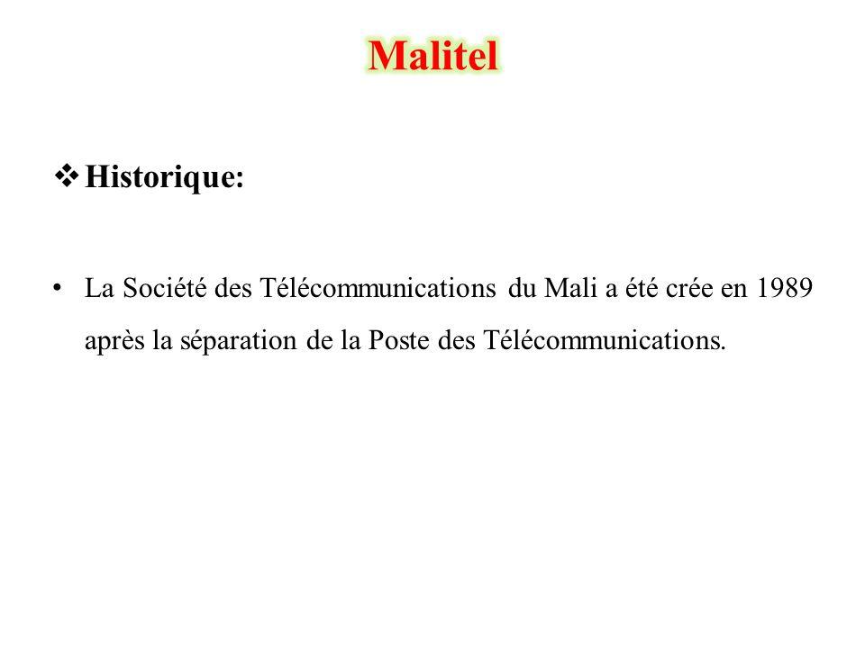  Historique : • La Société des Télécommunications du Mali a été crée en 1989 après la séparation de la Poste des Télécommunications.