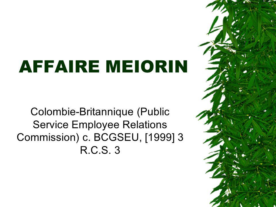 AFFAIRE MEIORIN Colombie-Britannique (Public Service Employee Relations Commission) c. BCGSEU, [1999] 3 R.C.S. 3