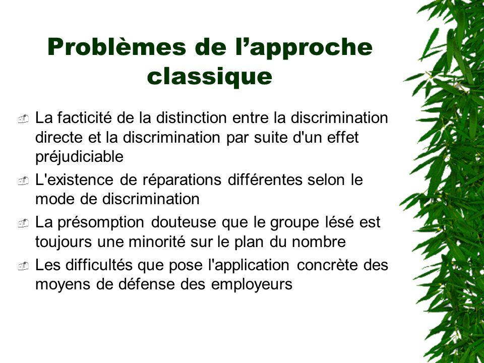 Problèmes de l'approche classique  La facticité de la distinction entre la discrimination directe et la discrimination par suite d'un effet préjudici