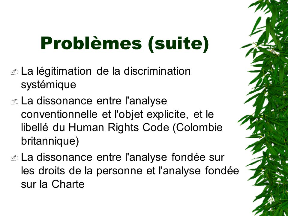 Problèmes (suite)  La légitimation de la discrimination systémique  La dissonance entre l'analyse conventionnelle et l'objet explicite, et le libell