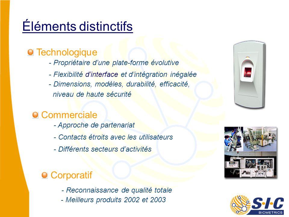 Technologique Corporatif - Propriétaire d'une plate-forme évolutive Éléments distinctifs - Flexibilité d'interface et d'intégration inégalée - Dimensions, modèles, durabilité, efficacité, niveau de haute sécurité Commerciale - Approche de partenariat - Différents secteurs d'activités - Reconnaissance de qualité totale - Contacts étroits avec les utilisateurs - Meilleurs produits 2002 et 2003