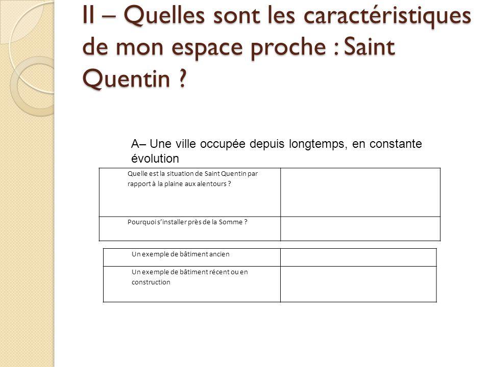 II – Quelles sont les caractéristiques de mon espace proche : Saint Quentin ? A– Une ville occupée depuis longtemps, en constante évolution Quelle est