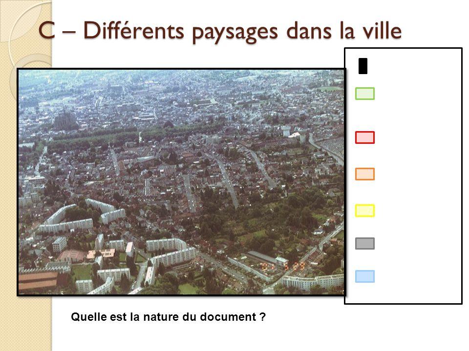 C – Différents paysages dans la ville Quelle est la nature du document ?