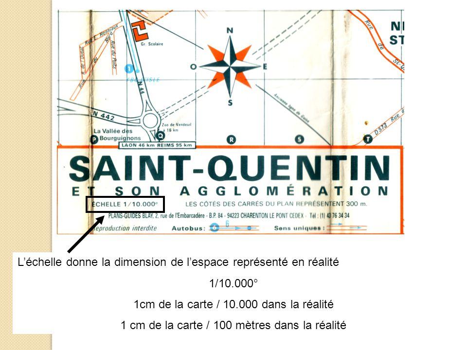 L'échelle donne la dimension de l'espace représenté en réalité 1/10.000° 1cm de la carte / 10.000 dans la réalité 1 cm de la carte / 100 mètres dans l