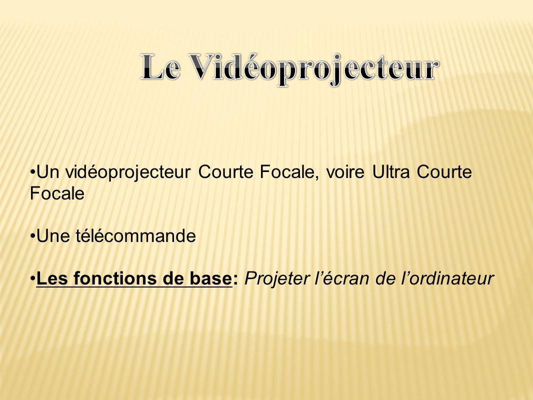 •Un vidéoprojecteur Courte Focale, voire Ultra Courte Focale •Une télécommande •Les fonctions de base: Projeter l'écran de l'ordinateur