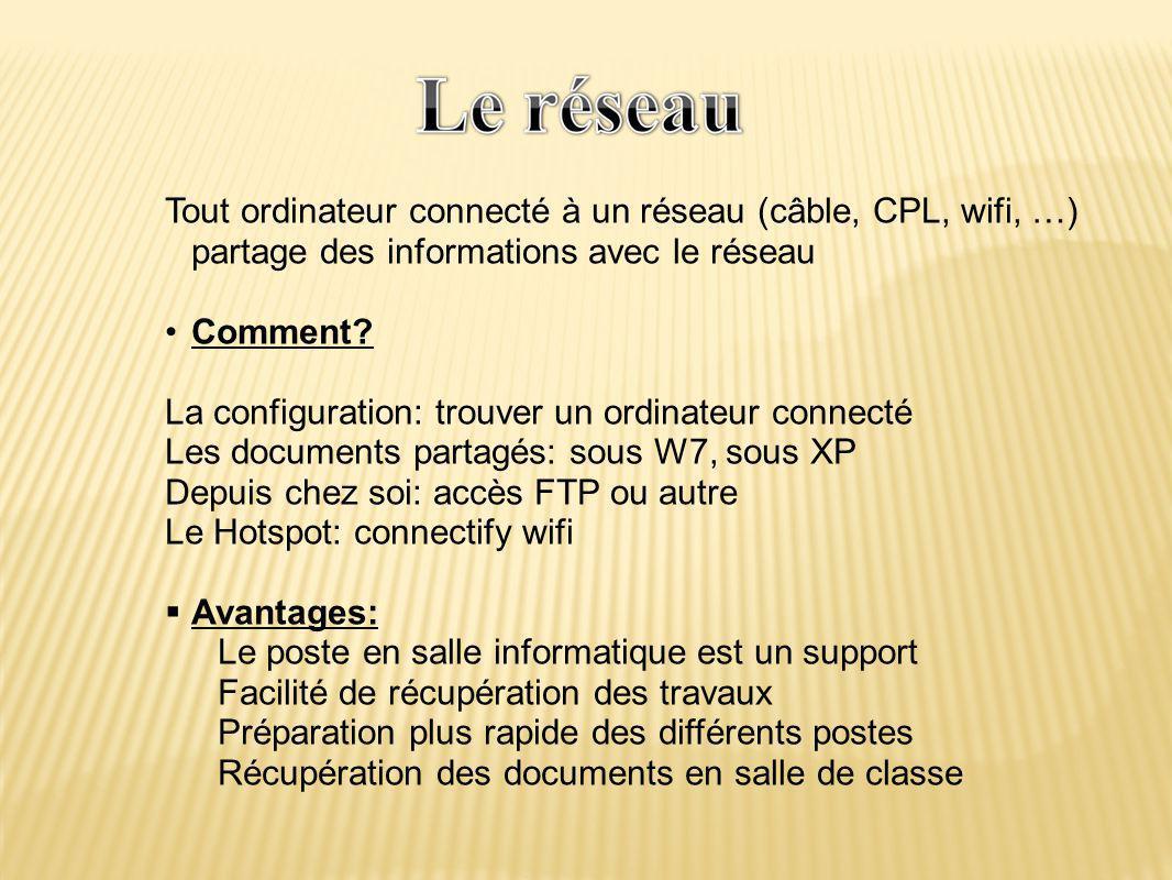 Tout ordinateur connecté à un réseau (câble, CPL, wifi, …) partage des informations avec le réseau •Comment.