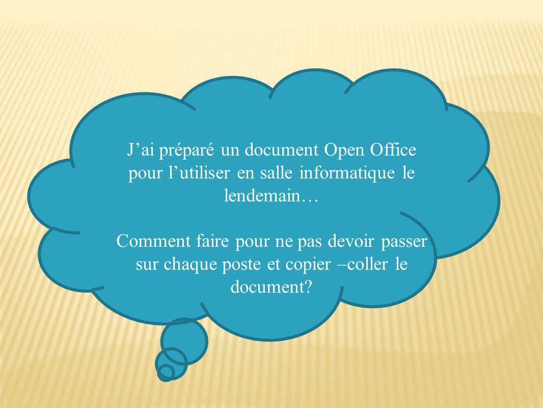 J'ai préparé un document Open Office pour l'utiliser en salle informatique le lendemain… Comment faire pour ne pas devoir passer sur chaque poste et copier –coller le document?