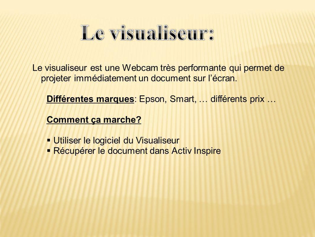 Le visualiseur est une Webcam très performante qui permet de projeter immédiatement un document sur l'écran. Différentes marques: Epson, Smart, … diff