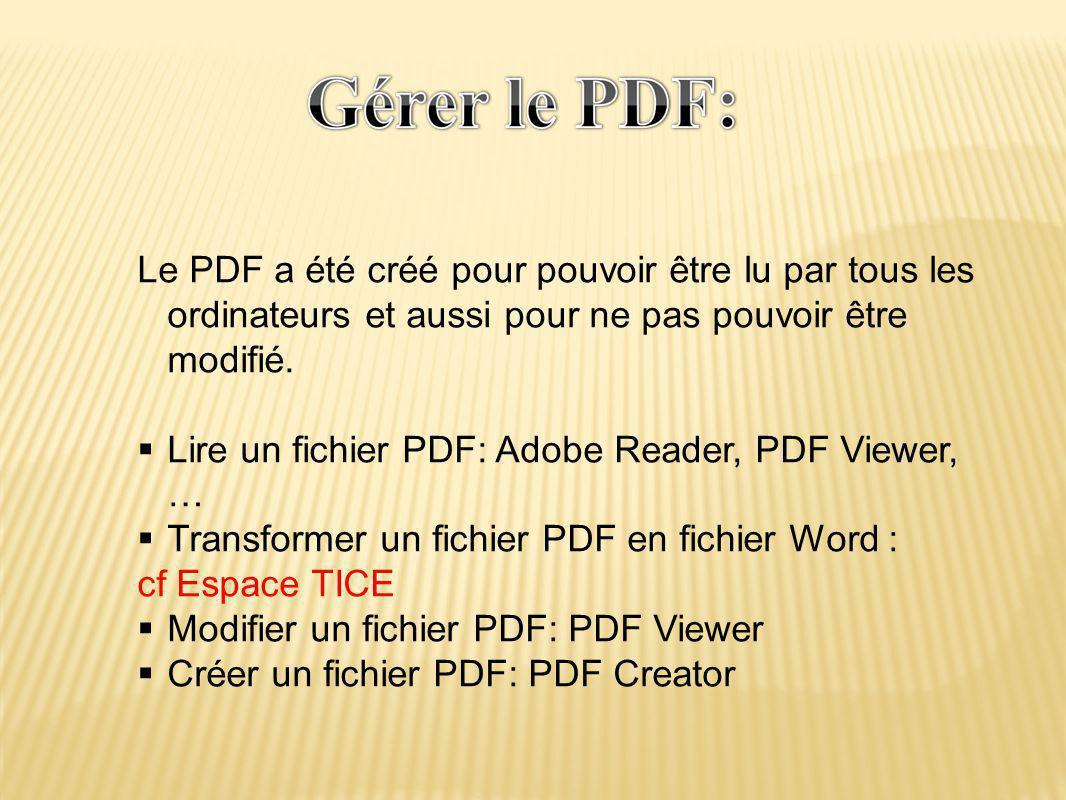 Le PDF a été créé pour pouvoir être lu par tous les ordinateurs et aussi pour ne pas pouvoir être modifié.  Lire un fichier PDF: Adobe Reader, PDF Vi