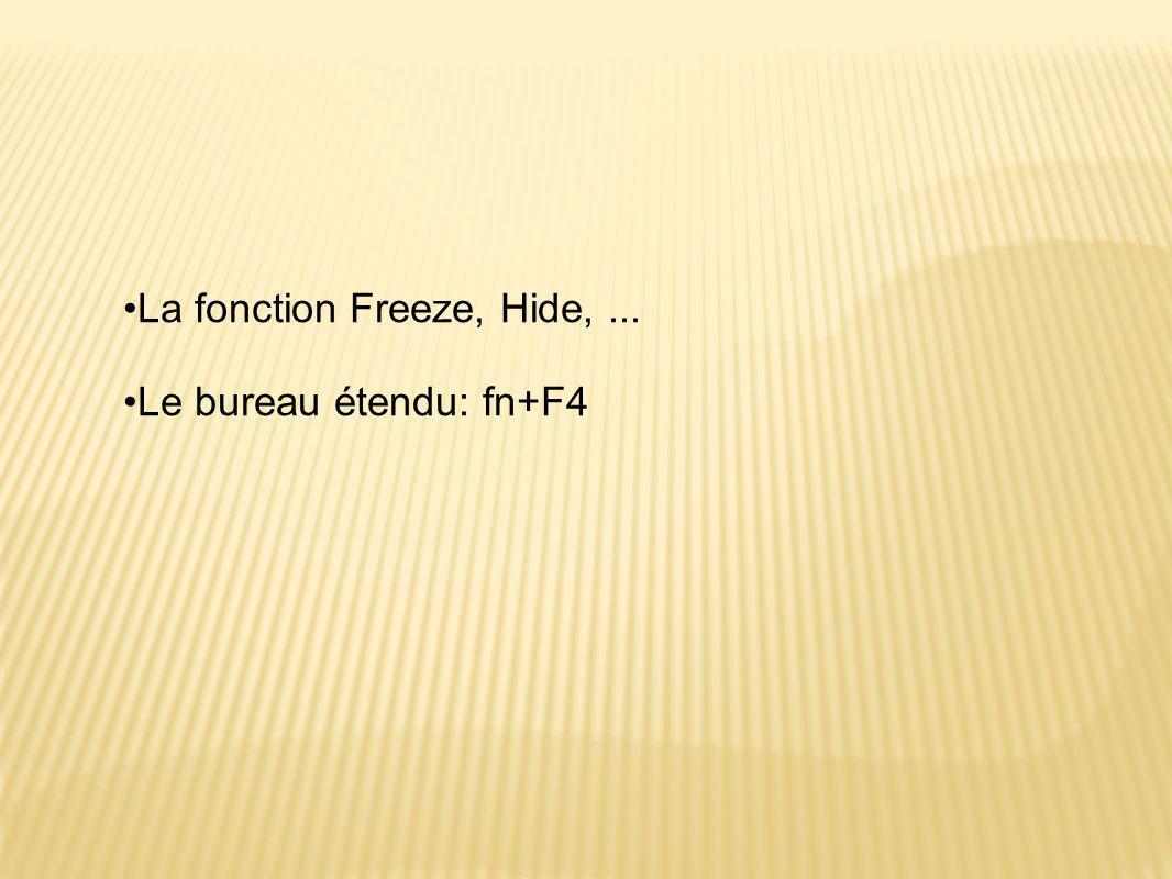 •La fonction Freeze, Hide,... •Le bureau étendu: fn+F4
