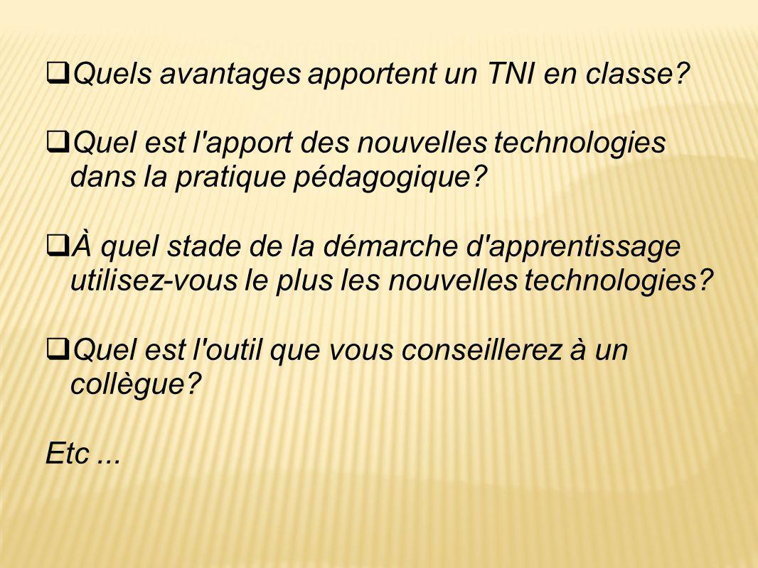  Quels avantages apportent un TNI en classe?  Quel est l'apport des nouvelles technologies dans la pratique pédagogique?  À quel stade de la démarc