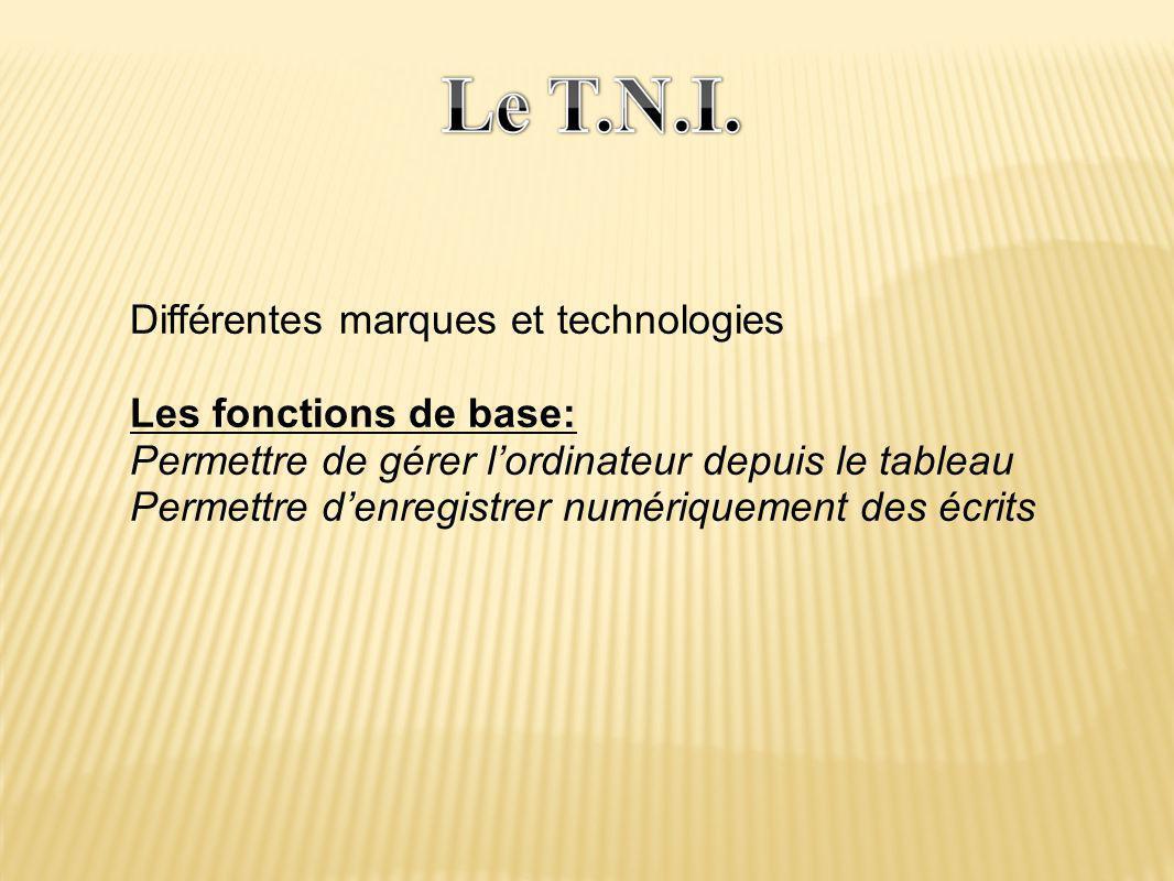 Différentes marques et technologies Les fonctions de base: Permettre de gérer l'ordinateur depuis le tableau Permettre d'enregistrer numériquement des écrits