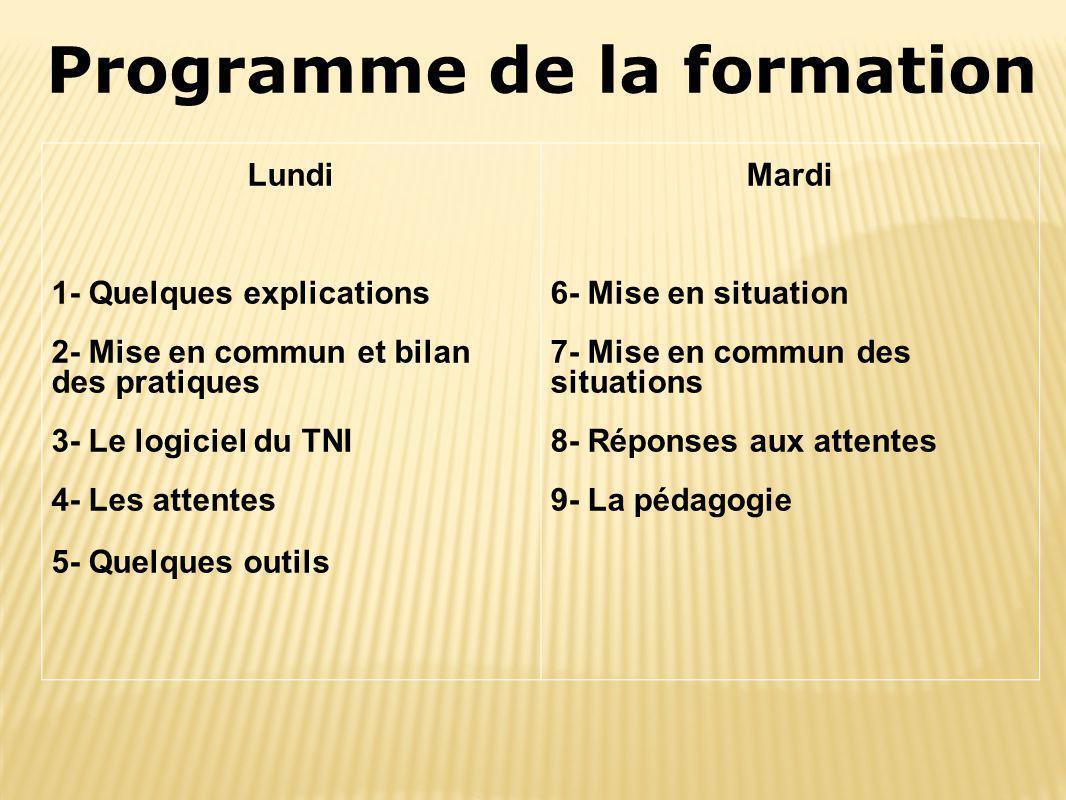 Programme de la formation Lundi 1- Quelques explications 2- Mise en commun et bilan des pratiques 3- Le logiciel du TNI 4- Les attentes 5- Quelques ou