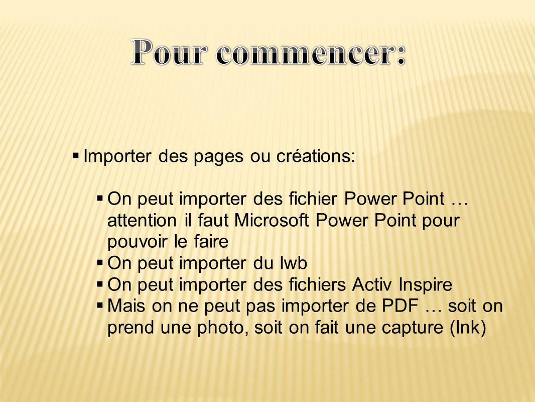  Importer des pages ou créations:  On peut importer des fichier Power Point … attention il faut Microsoft Power Point pour pouvoir le faire  On peut importer du Iwb  On peut importer des fichiers Activ Inspire  Mais on ne peut pas importer de PDF … soit on prend une photo, soit on fait une capture (Ink)