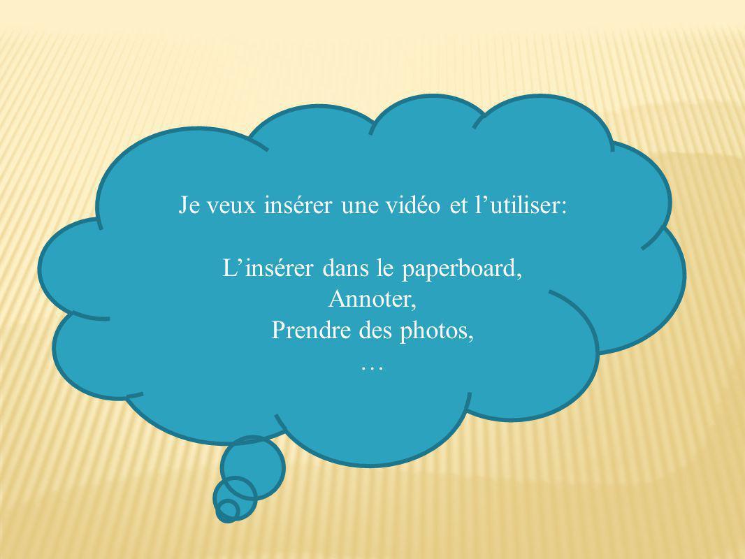 Je veux insérer une vidéo et l'utiliser: L'insérer dans le paperboard, Annoter, Prendre des photos, …