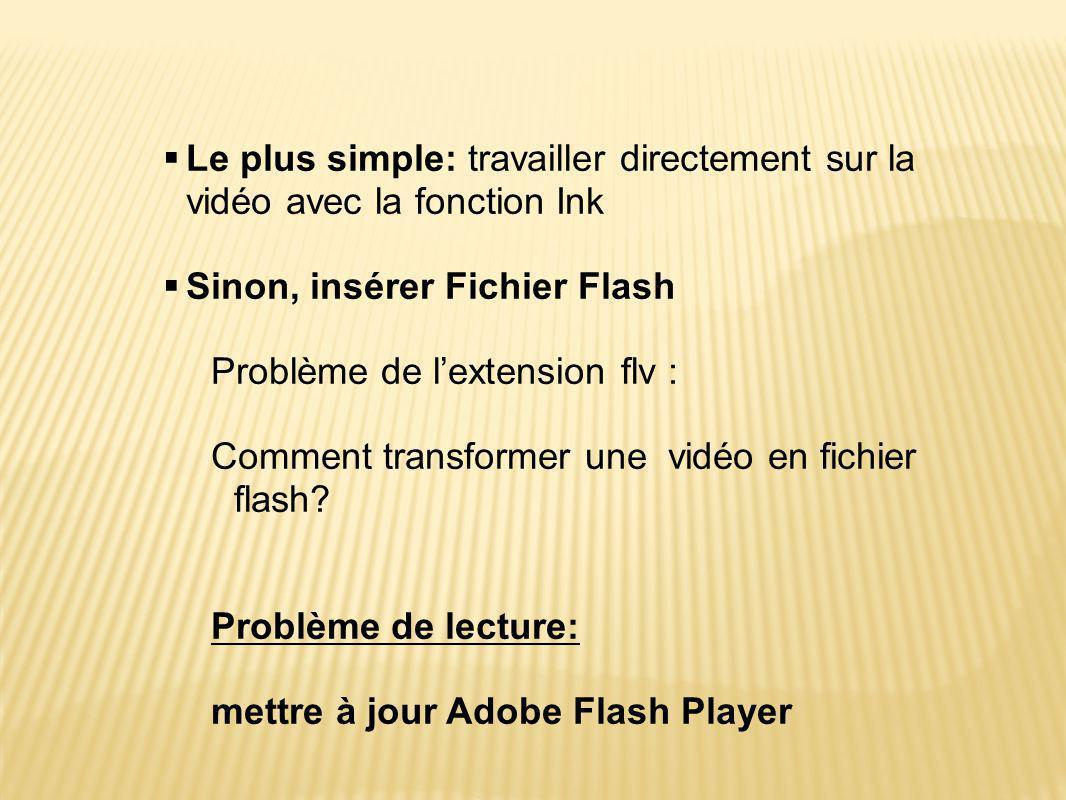  Le plus simple: travailler directement sur la vidéo avec la fonction Ink  Sinon, insérer Fichier Flash Problème de l'extension flv : Comment transf