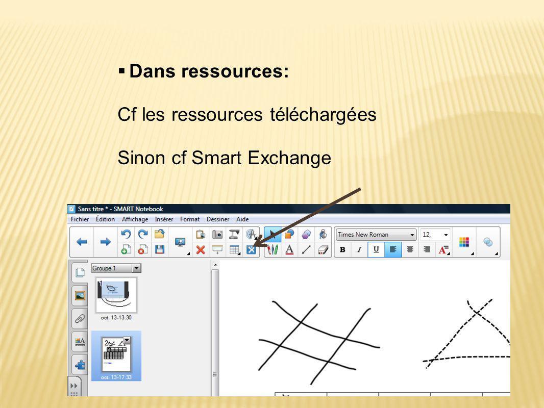  Dans ressources: Cf les ressources téléchargées Sinon cf Smart Exchange