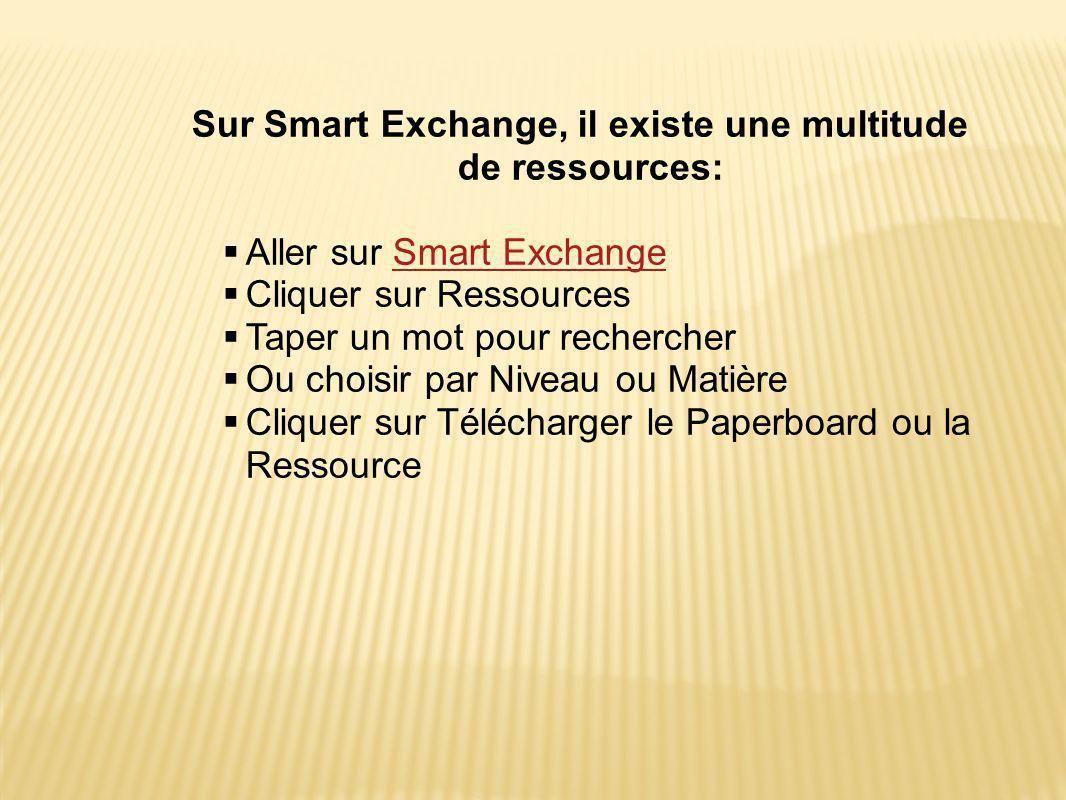 Sur Smart Exchange, il existe une multitude de ressources:  Aller sur Smart ExchangeSmart Exchange  Cliquer sur Ressources  Taper un mot pour rechercher  Ou choisir par Niveau ou Matière  Cliquer sur Télécharger le Paperboard ou la Ressource