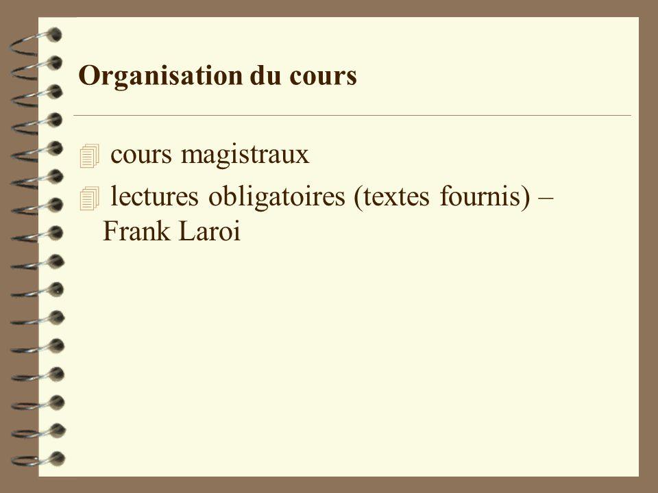 Organisation du cours 4 cours magistraux 4 lectures obligatoires (textes fournis) – Frank Laroi
