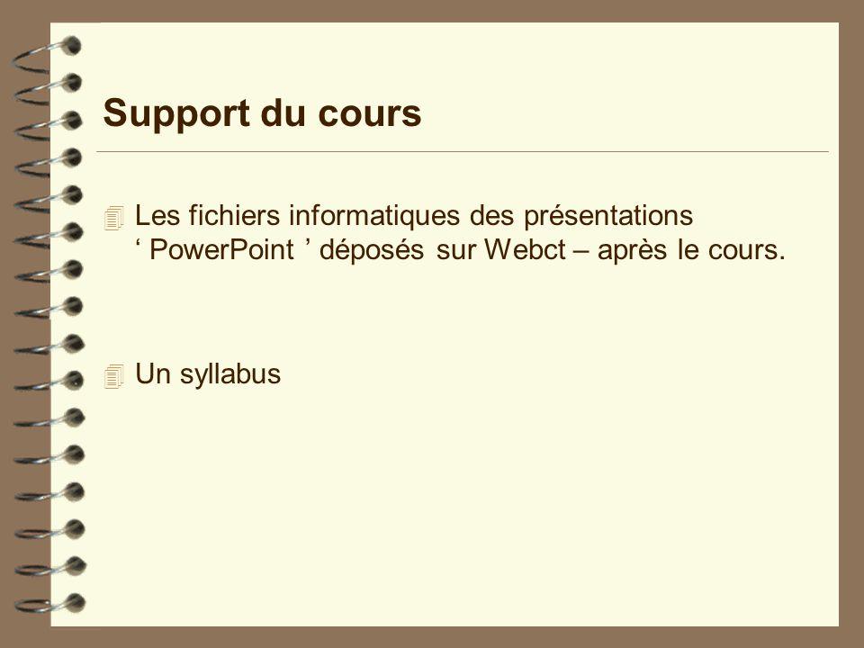 Support du cours  Les fichiers informatiques des présentations ' PowerPoint ' déposés sur Webct – après le cours.  Un syllabus