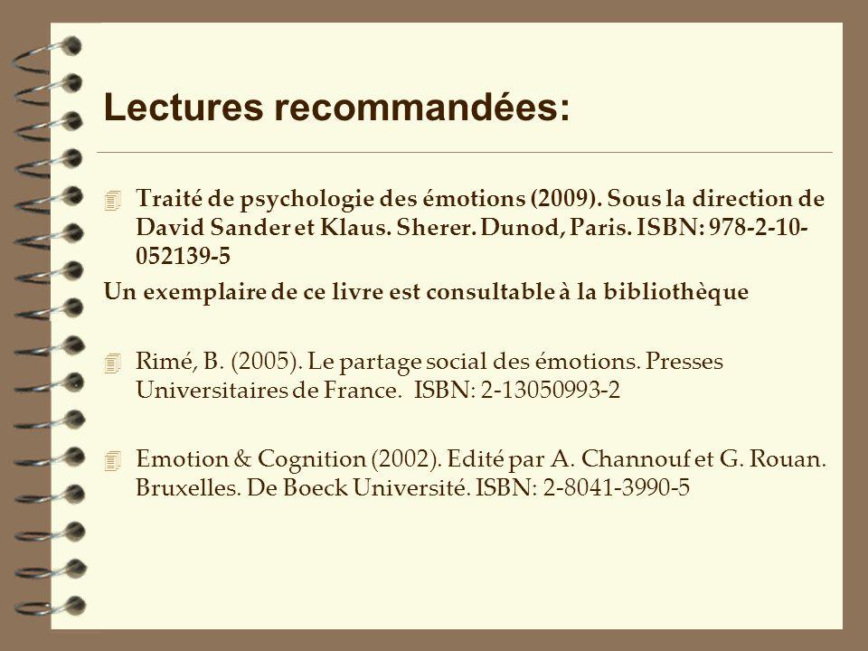 Lectures recommandées: 4 Traité de psychologie des émotions (2009). Sous la direction de David Sander et Klaus. Sherer. Dunod, Paris. ISBN: 978-2-10-