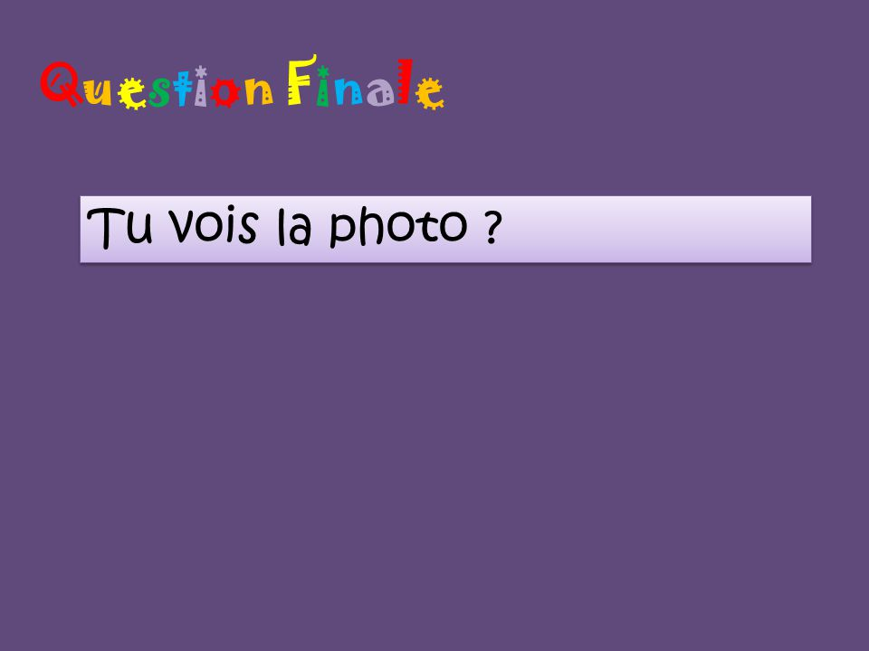 Question FinaleQuestion Finale Tu vois la photo ?
