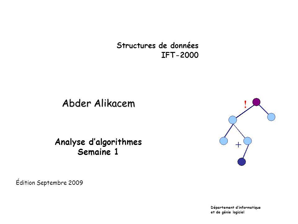Autres exemples sur les boucles  void f(int N) { int i,j; for(i=0;i<n;i++) for(j=0;j<n;j++) cout << i << j << endl; for(i=0;i<n;i++) cout << i << endl; } Cet algorithme est en O(n²)  void f(int N) { int i; for(i=0;i<10000;i++) cout<<''Allo\n '' ; } Puisque son temps d'exécution ne dépend pas de n, même si la boucle est très longue, l'algorithme est en O(1).