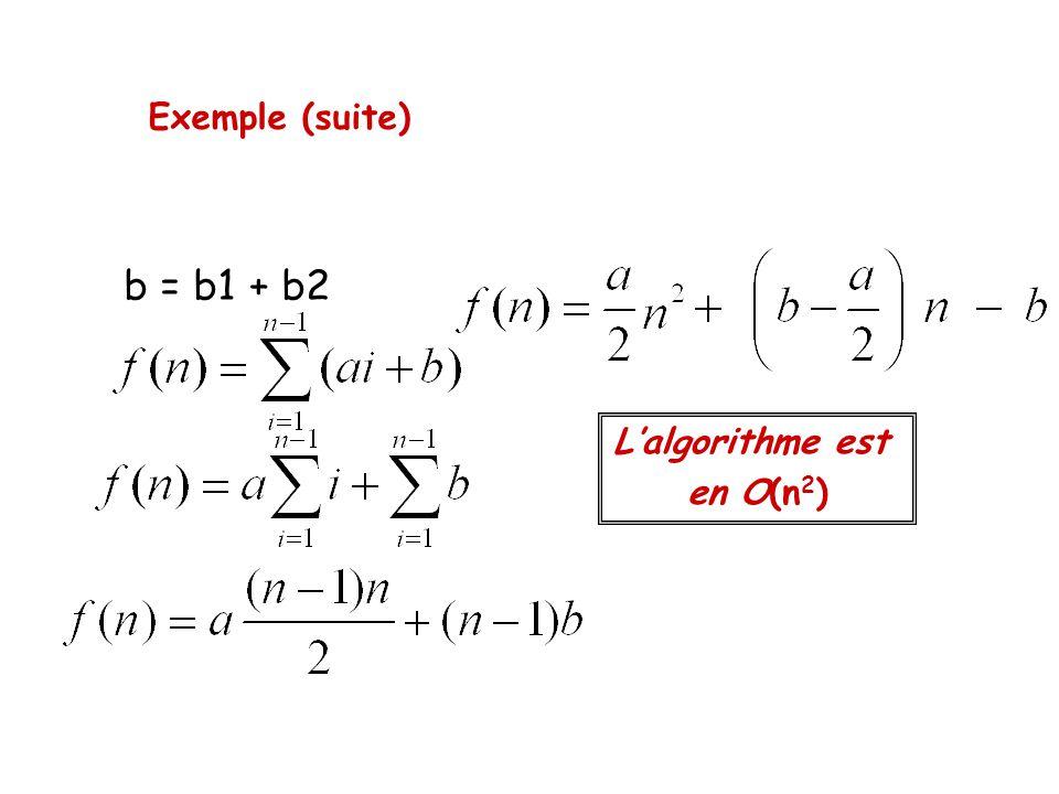 Exemple (suite) b = b1 + b2 L'algorithme est en O(n 2 )