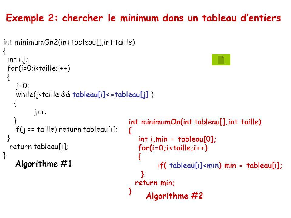 int minimumOn2(int tableau[],int taille) { int i,j; for(i=0;i<taille;i++) { j=0; while(j<taille && tableau[i]<=tableau[j] ) { j++; } if(j == taille) r