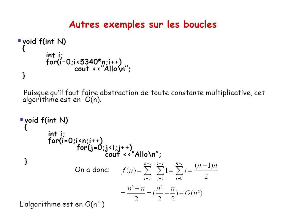 Autres exemples sur les boucles  void f(int N) { int i; for(i=0;i<5340*n;i++) cout <<''Allo\n''; } Puisque qu'il faut faire abstraction de toute cons