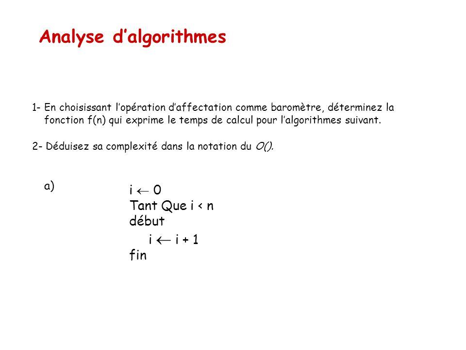 Analyse d'algorithmes 1- En choisissant l'opération d'affectation comme baromètre, déterminez la fonction f(n) qui exprime le temps de calcul pour l'a