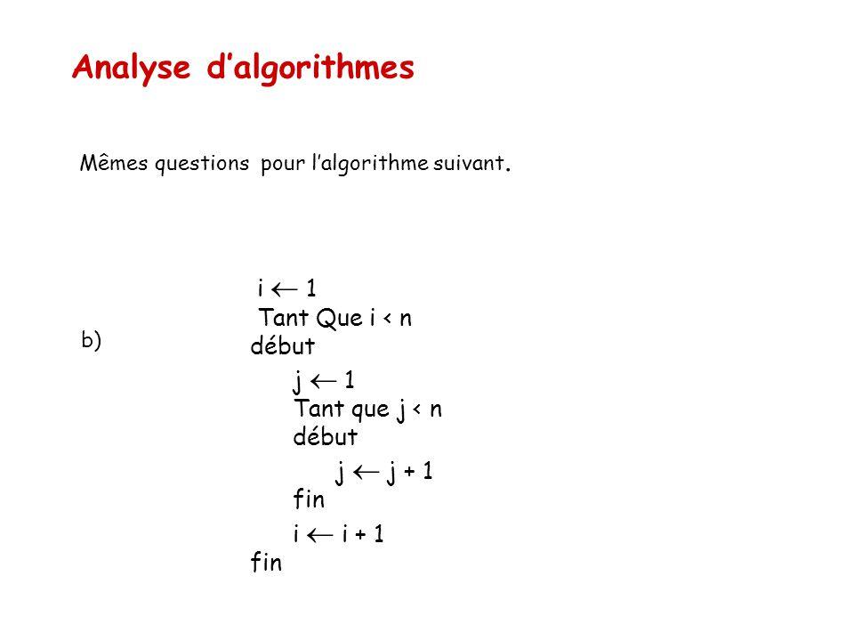 Analyse d'algorithmes Mêmes questions pour l'algorithme suivant. i  1 Tant Que i < n début j  1 Tant que j < n début j  j + 1 fin i  i + 1 fin b)